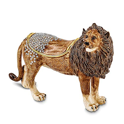 Jere Luxury Giftware Bejeweled Pride Powerful Lion, Pewter with Enamel Collectible Trinket Box with Matching Pendant Necklace