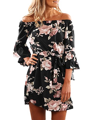 Sexyshine Women's Sexy Off Shoulder Strapless Floral Print Ruffles Flare Sleeve Casual Tunic Mini Dress(BL,M)