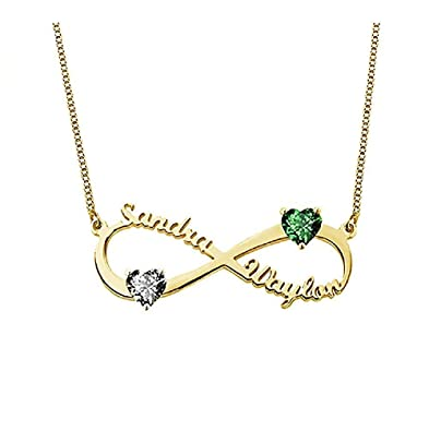 09a759aef92df Grance Personalized Couple Infinity Necklace Engraved with 2 Names and  Birthstones—925 Sterling Silver Custom BFF Infinity Name Necklace in Rose  ...