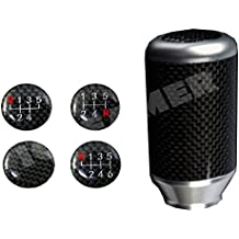 ICBEAMER Drifting Styles [Color: Silver] Aluminum and Real Carbon Fiber Manual Gear Stick Shift Knob 5 6 Speeds Pattern