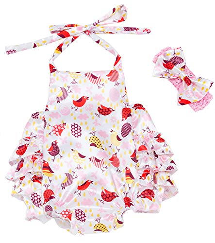 Newborn Infant Baby Girl Easter Outfit Egg Chicken Patterm Bodysuit Romper Beadband Summer Clothes Set (Easter Eggs and Chicks Pattern Romper, 6-12 Months)]()