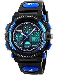Kid's Digital Watch LED Outdoor Sports 50M Waterproof Watches Boys Girls Children's Analog Quartz Wristwatch with Alarm - Blue …