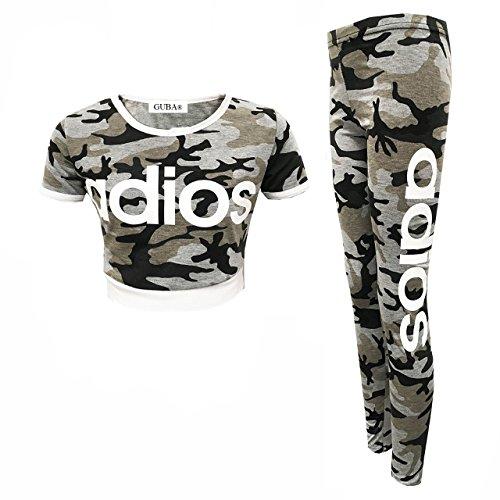 (GUBA® Girls New Adios Athletic Camouflage Crop TOP & Legging Two Piece Set 7-13 Years (Adios Grey Camouflage, 11-12 Years))
