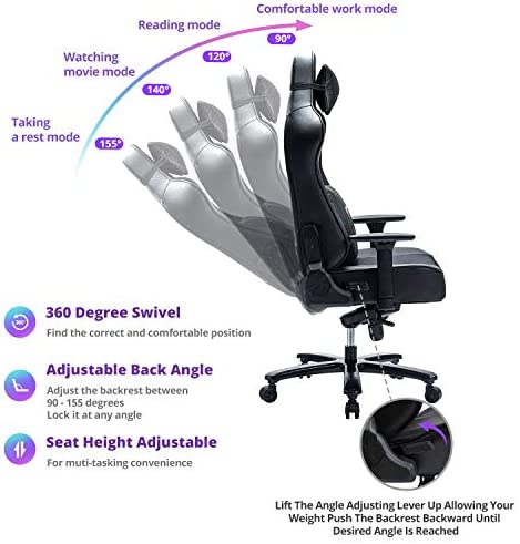 FANTASYLAB 400lb Gaming Chair Big Tall Breathable Office Racing Computer Chair, 3-D Adjustable Armrest Air-Cooling System Heavy Duty Metal Base 5179Qa nKXL