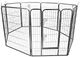OxGord 8-Panel Metal Fence with Anchors Heavy Duty Pen Tube with Door for Pets, 73 by 73 by 24""