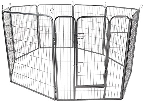 oxgord-8-panel-metal-fence-with-anchors-heavy-duty-pen-tube-with-door-for-pets-73-by-73-by-24