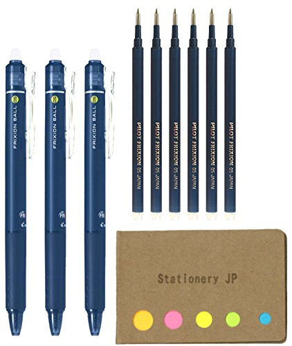 Pilot FriXion Ball Knock Retractable Erasable Gel Ink Pens, Extra Fine Point 0.5mm, Blue Black Ink, 3 Pens, 6 Refills, Sticky Notes Value (Blue Refillable Ink)