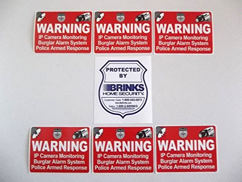 BRINKS + 6 ADT'L HOME SECURITY WINDOW STICKERS - 3x4