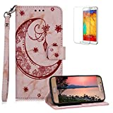 Funyee Magnetic Flip Case for Samsung Galaxy S7 Edge [Free Screen Protector],Luxury Moon Embossed Pattern PU Leather Soft Wallet Case [Built-in Credit Card Slots] for Samsung Galaxy S7 Edge,Rose Gold
