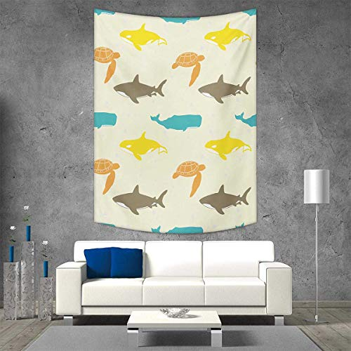 smallbeefly Sea Animals Home Decorations Living Room Bedroom Pattern Whale Shark Turtle Aquarium Doodle Style Marine Life Wall Art Home Decor 40W x 60L INCH Ivory Taupe Peach]()