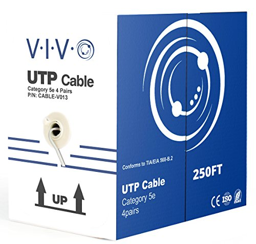 New 250 ft Bulk Cat5e LAN Ethernet Cable/Wire UTP Pull Box 250ft Cat-5e Grey ~ VIVO - Wire Category 5e
