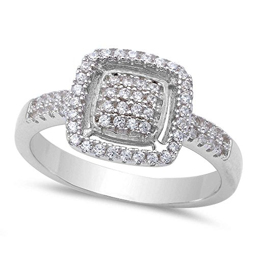 Cushion Shape Micro Pave Cubic Zirconia Fashion .925 Sterling Silver Ring Sizes 9 -