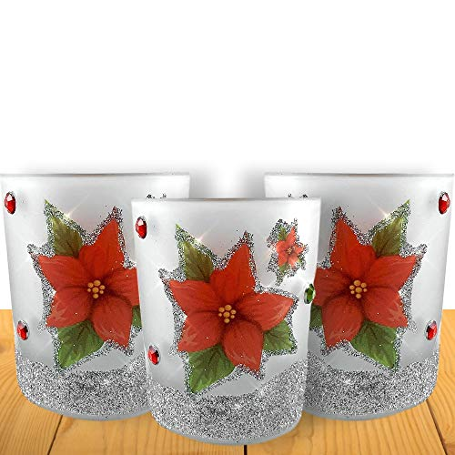 BANBERRY DESIGNS Christmas Poinsettia - Set of 3 Frosted Glass Candle Holders with a Red Glitter Poinsettia Design - 3 White Flameless Tealight Candles Included