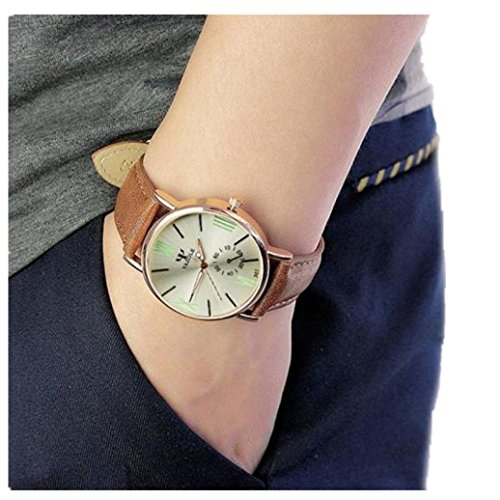 (YANG-YI Retro Design Leather Band Round Analog Alloy Quartz Wrist Watch Men (Silver))
