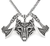 GuoShuang Viking amulet nordic rune odin raven wolf head pendant necklace with gift bag