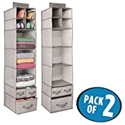 mDesign Fabric Closet Organizer for Sweaters, Shoes, Scarves - Pack of 2, 7 Shelves and 3 Drawers Each, Linen