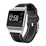 For Fitbit Ionic Bands 5.5''-8.1'', Gotd Leather Sport Straps Accessory Replacement for Fitbit Ionic Smart Fitness Watch Women Men (Black)