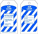 Brady 86435 5 3/4'' Height x 3'' Width, Heavy Duty Polyester (B-837), Blue on White Air Leak Tags (10 Tags)