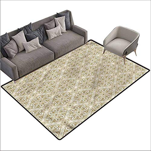 Anti-Slip Coffee Table Floor Mats Beige,Baroque Floral Motif 36