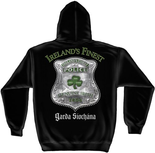 Law Enforcement Hooded Sweatshirt, 100% Cotton Casual Men's Shirts, Show Your Pride with our Garda Ireland's Finest Police Long Sleeve Sweatshirts for Men or Women (Medium)