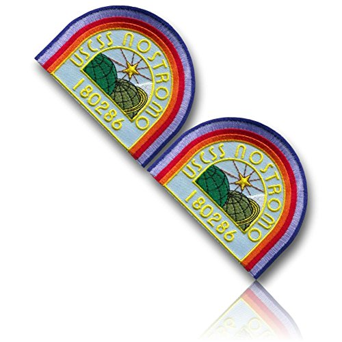 [2 Set Count] Custom and Unique (4'' Inch) Curved Half Square Shaped ''USCSS NOSTROMO 180286'' Planets & Star Crew Uniform Ripley Cosplay Costume Embroidered Sew Iron On Patch {Multicolored} {LICENSED} by 13th Titan