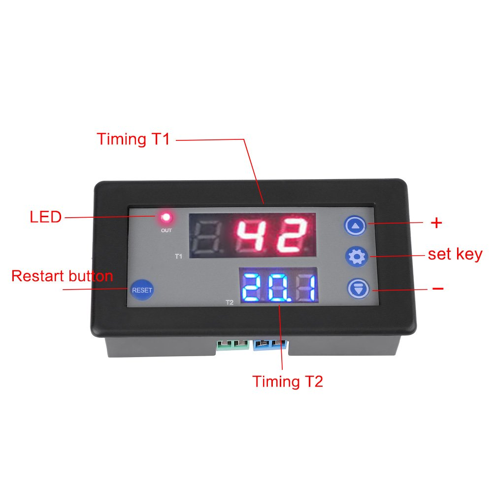 12V-24V-Relaismodul DC-Multifunktions-Digital-Timer-Zeitrelais-Zeitschaltuhr-Zeitschaltersteuerung