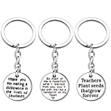 Teacher Appreciation Gift Idea - 3PCS Stainless Steel Key Chain Ring Graduation Gifts Teacher Best Friend Pendants Jewelry
