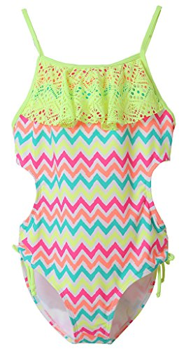 Attraco Big Girls Hollow-Out Rainbow Wave Stripe One Piece Swimsuit Size 8