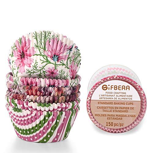 Gifbera Elegance Floral Standard Cupcake Liners Colorful Flower Baking Cups, Pack of 150