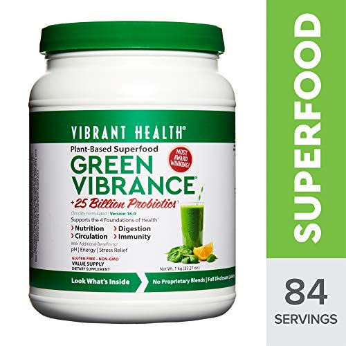Vibrant Health - Green Vibrance, Plant-Based Superfood to Support Immunity, Digestion, and Energy with Over 70 Ingredients, 25 Billion Probiotics, Gluten Free, Non-GMO, Vegetarian, 84 Servings (FFP)