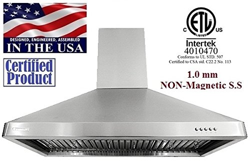 XtremeAir LED Lights, W, 3 Speed Mechanical Controls, 1.0mm Non-Magnetic Stainless Steel Seamless Body, UL02-W30 Wall Mount Range Hood with Baffle Filters/Grease Drain Tunnel, 30