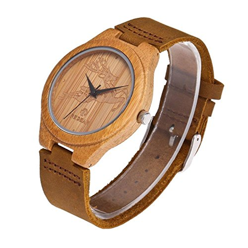 Price comparison product image Small Personalized Leather Watch Handmade wooden Bamboo Watch for Girl/Women with Japanese Quartz