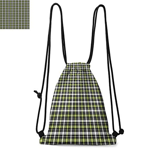Plaid Printed drawstring backpack Classical and Geometric in Green and Black Tones Graphic Tile Pattern Suitable for school or travel W17.3 x L13.4 Inch Olive Green Black Grey