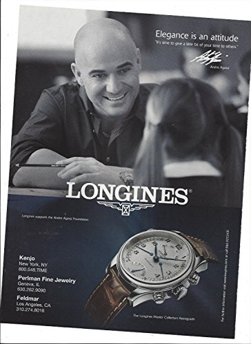 **PRINT AD** With Andre Agassi For 2009 Longines Master Retrograde Watches **PRINT AD**