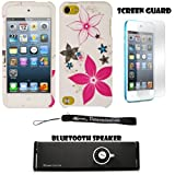 White and Pink Flowers 2 piece Cover Shield Protector Case For Apple iPod Touch 5 ( 5th Generation) 32GB, 64GB