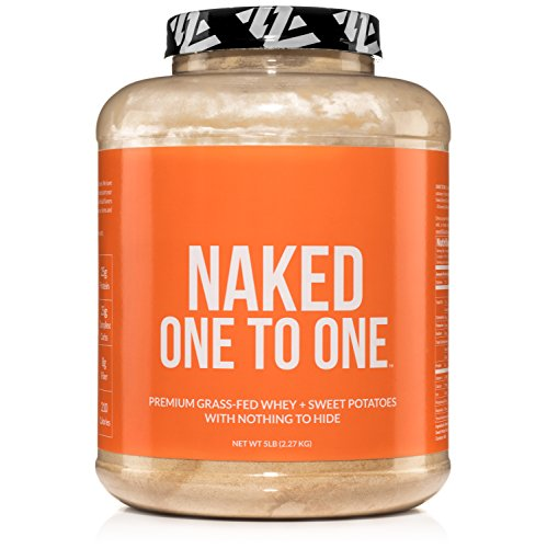 NAKED ONE TO ONE - Grass Fed Whey Protein + Sweet Potato Powder - 25 grams of Protein and Carbs - Non GMO, Gluten Free, Soy Free - No Artificial Flavors, Sweeteners, or Colors - 42 (Dehydrated Sweet Potatoes)