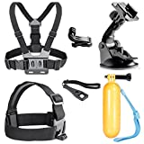 Neewer 6-In-1 Outdoor Sports Accessories Kit for GoPro HD Hero4 Black Silver Hero 4 3 2 1 - SJ4000 SJ5000 - SJ6000 Sports Cameras - Includes: Head Strap Belt Mount - Chest Strap Belt Mount - Surface J-hook Buckle - Car Suction Cup Mount Holder - Floating Handle Grip - Long Screw - Wrench