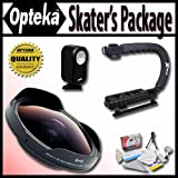 Opteka Deluxe ''Skaters'' Package (Includes the OPT-SC37FE Platinum Series 0.3X HD Ultra Fisheye Lens, X-GRIP Camcorder Handle, & 3 Watt Video Light) for Sony DCR-SR37, SR38, SR40, SR42, SR45, SR46, SR47, SR48, SR50, SR52, SR57, SR60, SR62, SR65, SR67, SR68