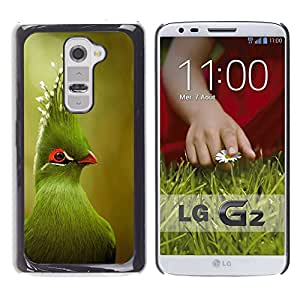 FlareStar Colour Printing Green Tropical Bird Green Blurry Nature cáscara Funda Case Caso de plástico para LG G2 / D800 / D802 / D802TA / D803 / VS980 / LS980