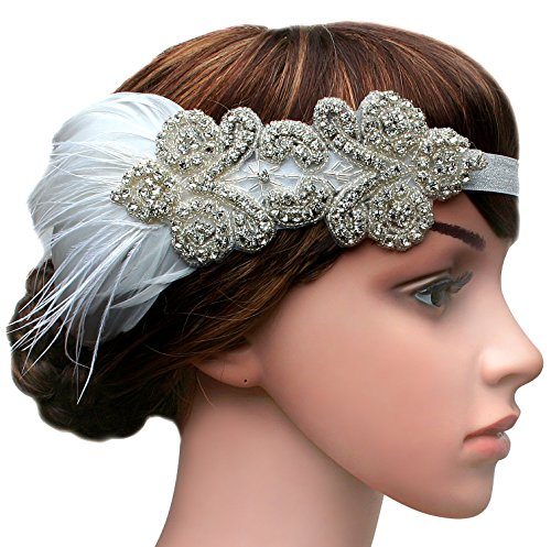[BABEYOND 1920s Headband Flapper Headbands 1920s Great Gatsby Style Bridal Feather Headpiece (White)] (Flappers 1920)