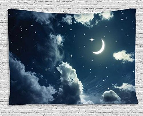 Ambesonne House Decor Collection, Crescent Moon and Stars on a Cloudy Starry Night Sky with Moonlight Astronomy Theme Picture, Bedroom Living Room Dorm Wall Hanging Tapestry, 60 X 40 Inches, Navy Grey ()