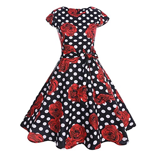gaddrt Damenmode Kleid Vintage Bodycon Kurzarm Casual Retro Abend ...