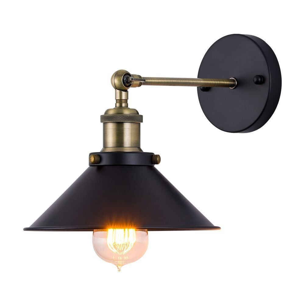 JIGUOOR Industrial Wall Sconces, Adjustable Vintage Edison Wall Lamp with Black Metal Shade (E27 Edison Bulbs Not Included)