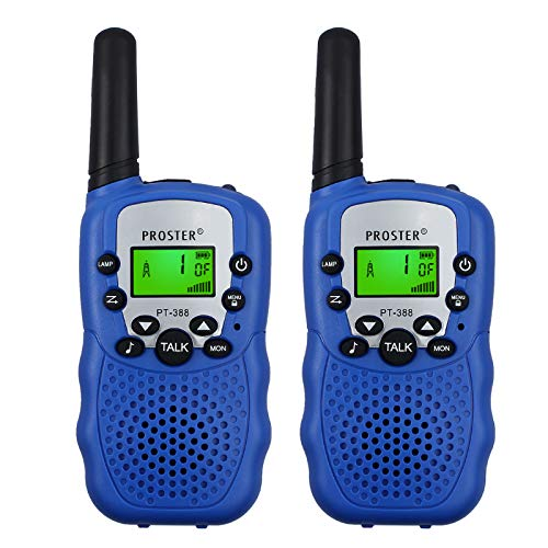 Proster Kids Walkie Talkies 22 Channel New LCD Toy Walky Talky Wireless Two-Way Radios for Children Friends Family Activities Outdoor Play Best Children's Day Christmas Thanksgiving-Day Gift (Blue)