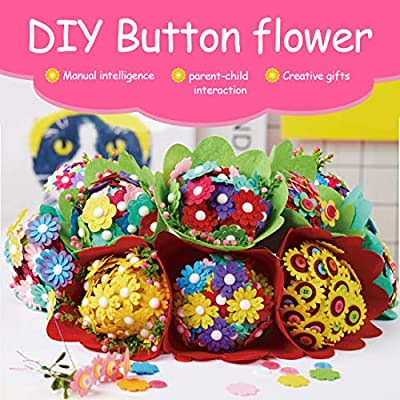 Flower Crafts Kit, Kids DIY Craft Iron Wire Button Felt Bouquets Kit Mothers Day Gifts: Health & Personal Care