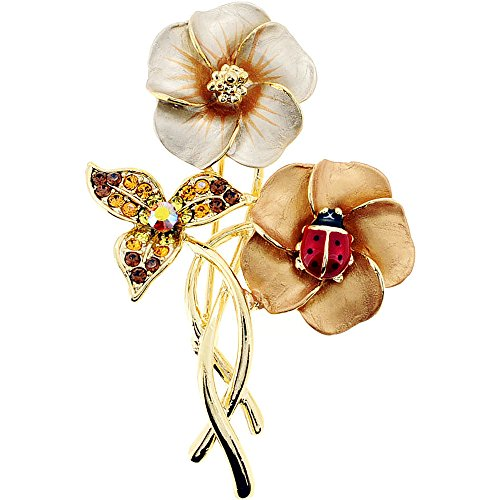 Brown Hawaiian Flower With Red Ladybug Swarovski Crystal Pin Brooch (Ladybug Crystal Brooch Pin)