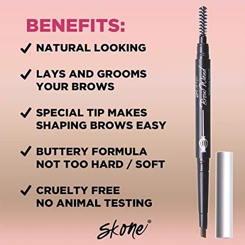 Skone Cosmetics | Totally Defined Eyebrow Wand and Pencil Liner| Waterproof | Smudgeproof | Long Lasting | Color…
