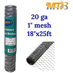 "MTB Galvanized Hexagonal Poultry Netting, Chicken Wire 18""x25'- 1"" 20GA (Also Sold in 50' & 150' Length)"