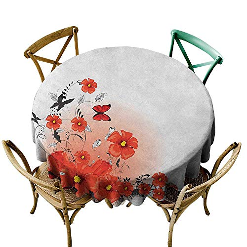 (Wendell Joshua 100% Polyester Round Tablecloth 50 inch Poppy,Floral Flash Background with Butterflies Spring Season Hope Inspiration Theme, Red White Black 100% Polyester Spillproof Tablecloths)