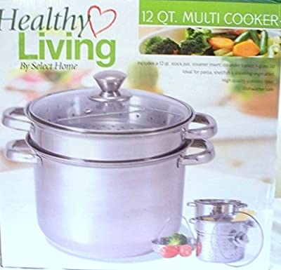 12 Qt Stock Pot with Steamer Insert and Colander to Boil Pasta